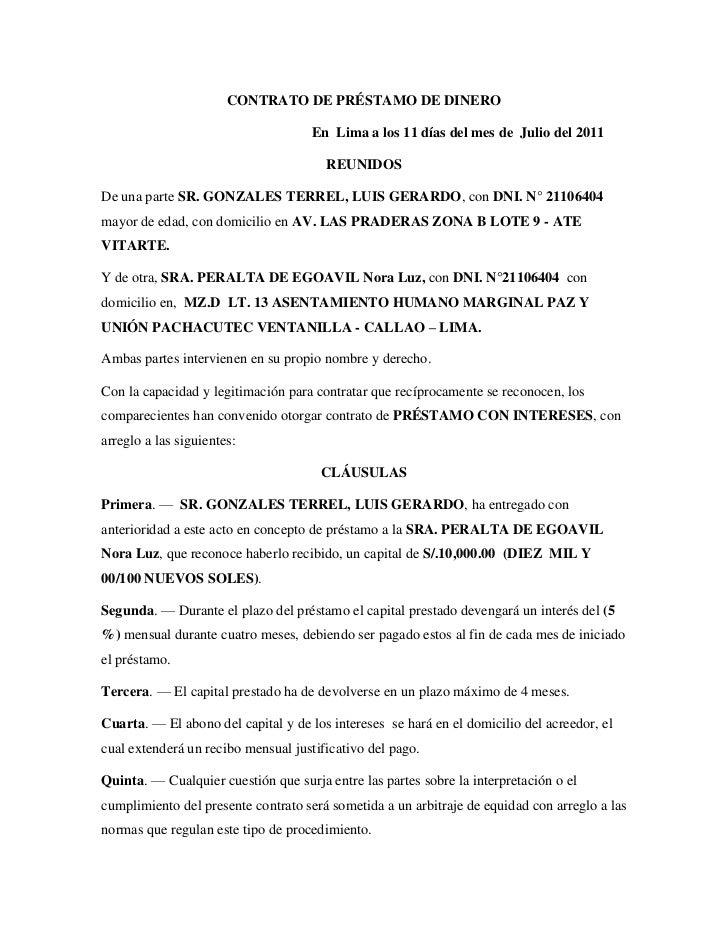 Carta De Prestamo De Dinero