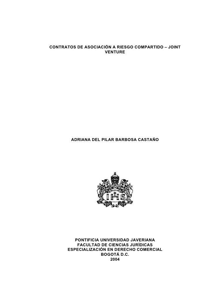Contrato de riesgo compartido (tesis)
