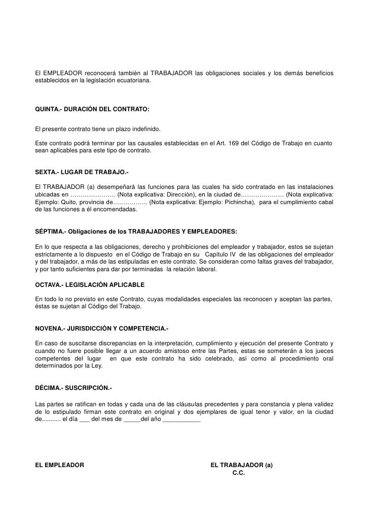 Contrato de trabajo a destajo for Formato de contrato de trabajo indefinido