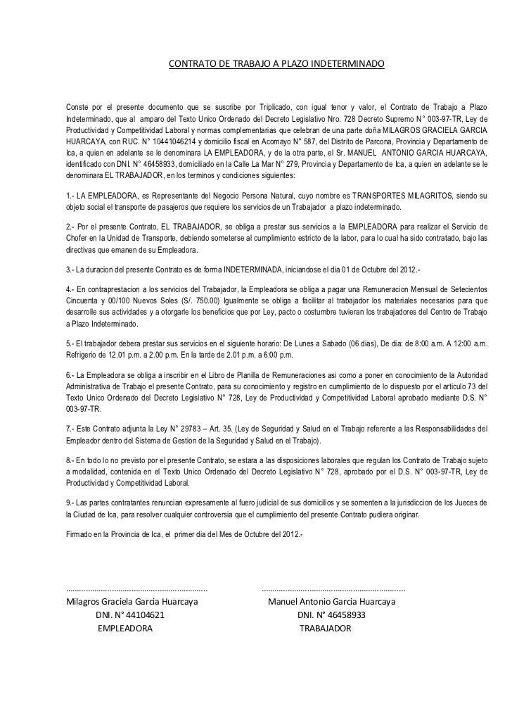 Contrato de trabajo a plazo indeterminado transp milagritos for Modelo contrato empleada de hogar indefinido