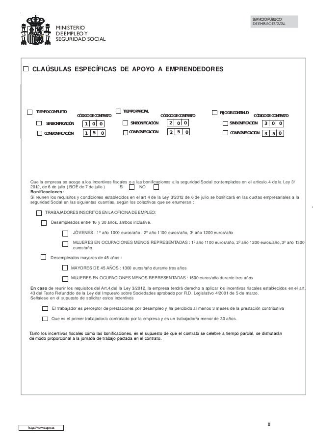 Modelo de contrato de trabajo indefinido a tiempo completo for Modelo contrato indefinido