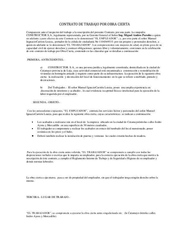 Contrato de trabajo por obra cierta Contrato trabajo