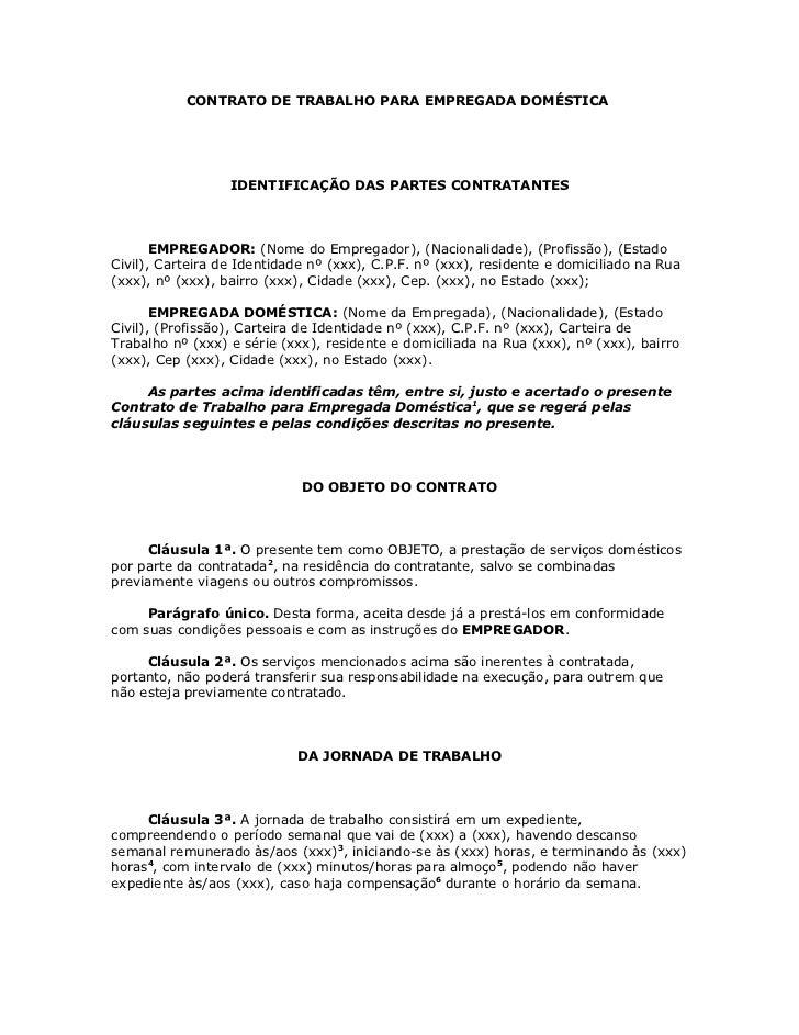Contrato de trabalho para empregada dom stica for Contrato laboral para empleadas domesticas