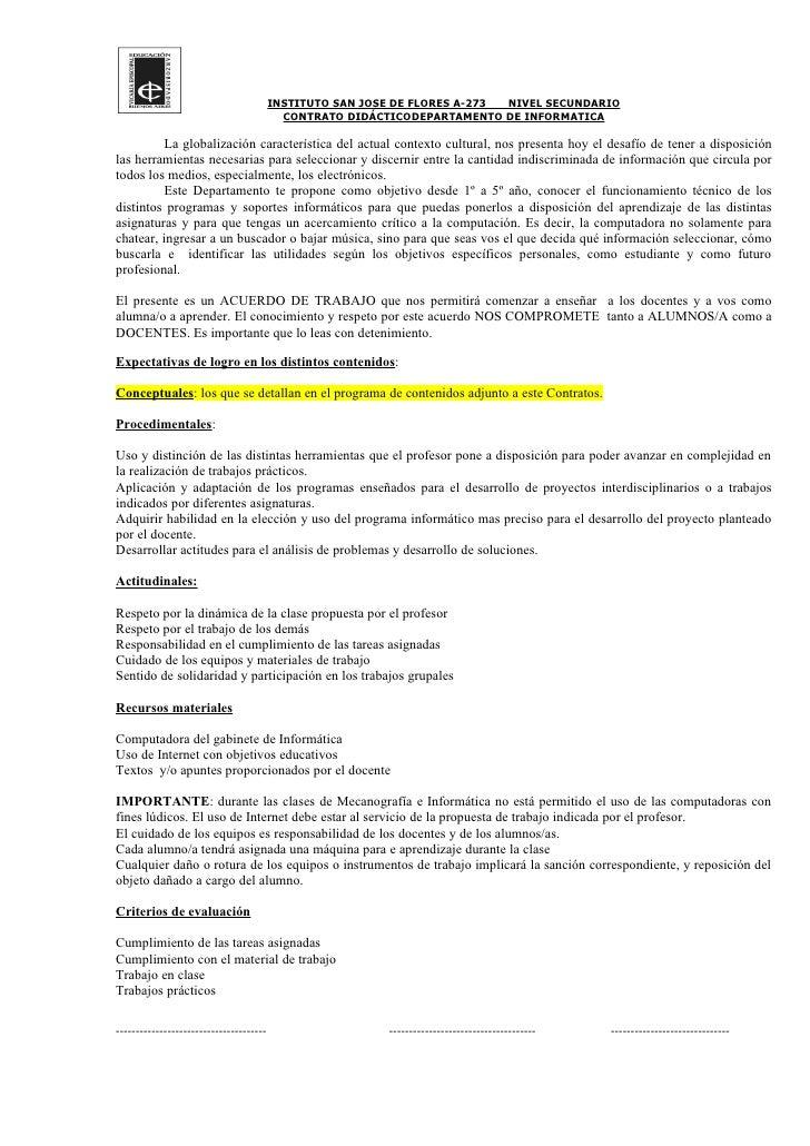 INSTITUTO SAN JOSE DE FLORES A-273 NIVEL SECUNDARIO                                            CONTRATO DIDÁCTICODEPARTAME...