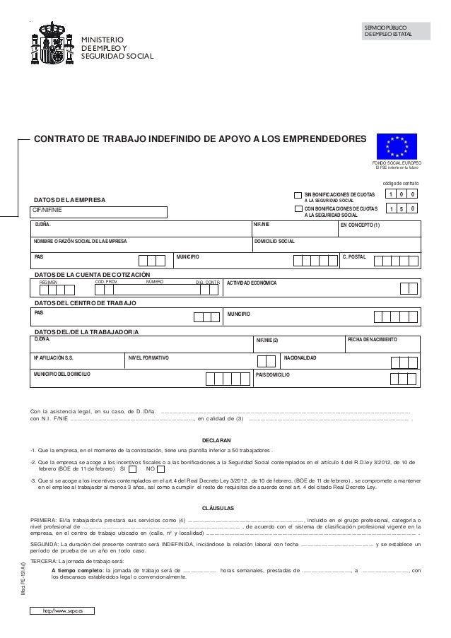 Contrato indefinido de apoyo a los emprendedores for Modelo contrato indefinido