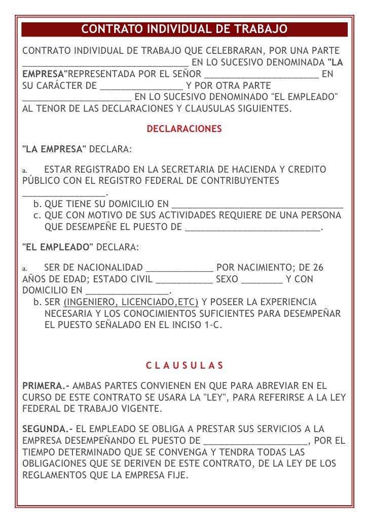 Contrato individual de trabajo Contrato laboral de trabajo