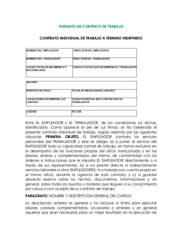 Formato de contrato individual de trabajo por tiempo for Formato de contrato de trabajo