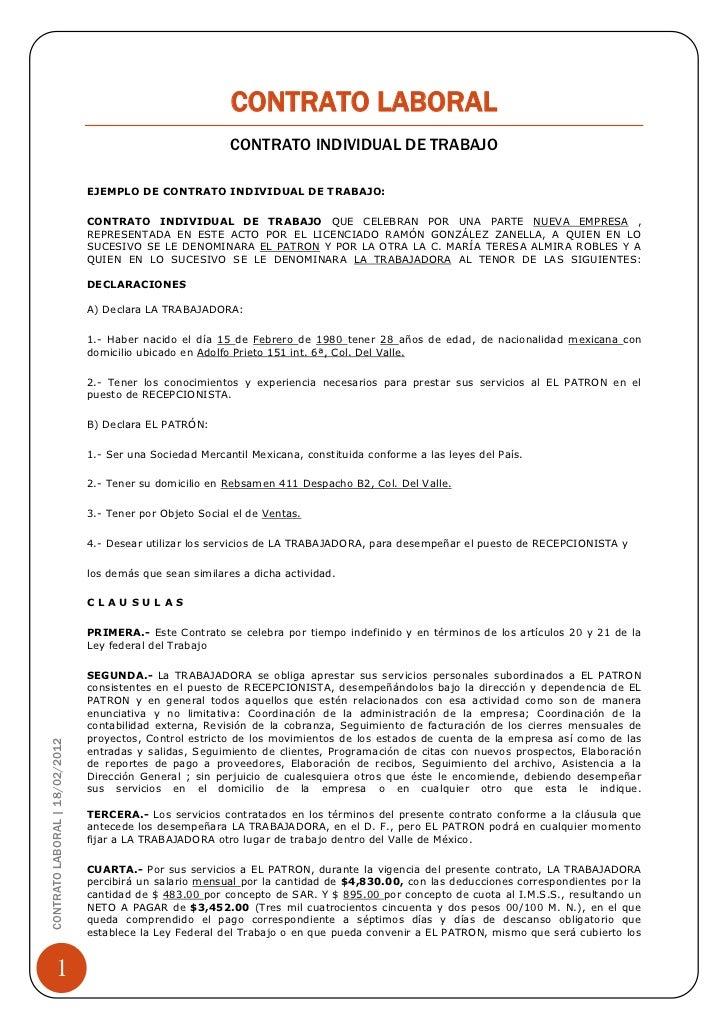 Formato Contrato Laboral De Trabajo Contrato Laboral