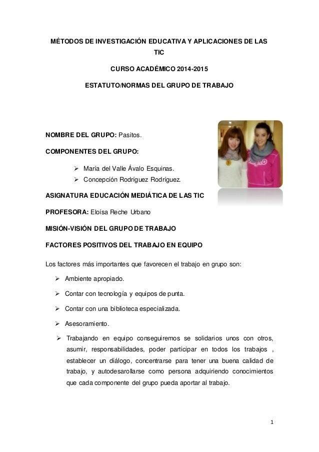 1 MÉTODOS DE INVESTIGACIÓN EDUCATIVA Y APLICACIONES DE LAS TIC CURSO ACADÉMICO 2014-2015 ESTATUTO/NORMAS DEL GRUPO DE TRAB...