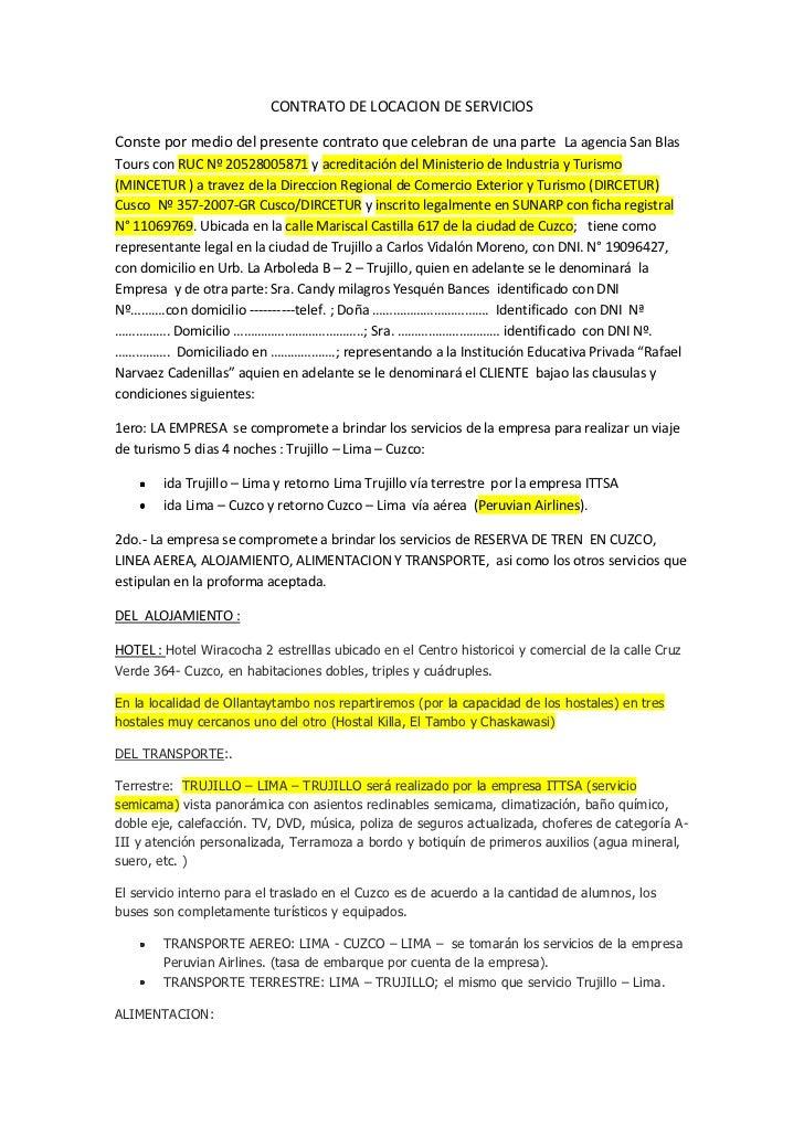 CONTRATO DE LOCACION DE SERVICIOS <br />Conste por medio del presente contrato que celebran de una parte  La agencia San B...