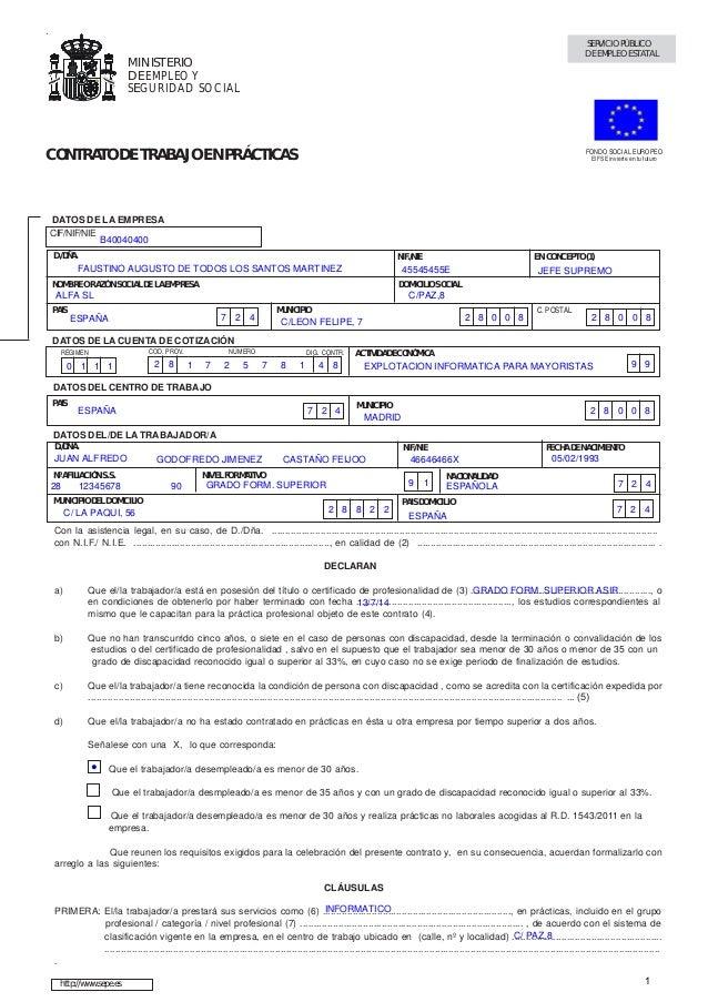 Contrato practicas prac c ej 1 pag 38 for Contrato indefinido ejemplo