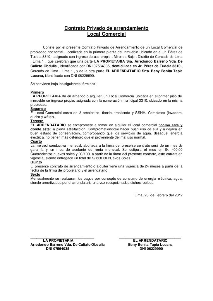 formato contrato arrendamiento local: