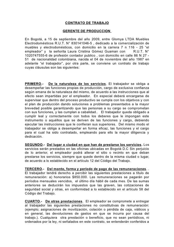 Contratos for Formato de contrato de trabajo
