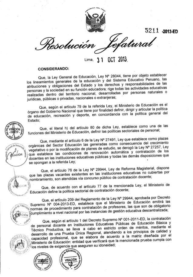 Directiva contrato docente 2014