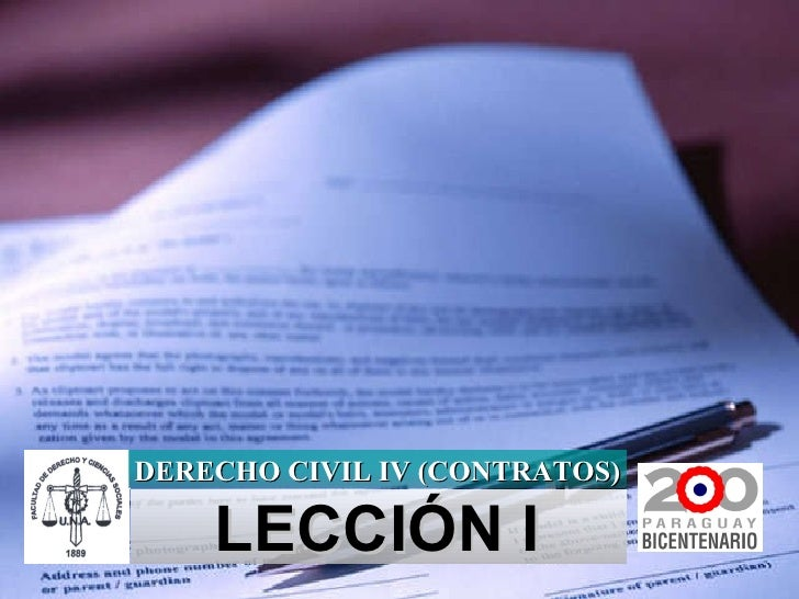 LECCIÓN I DERECHO CIVIL IV (CONTRATOS)
