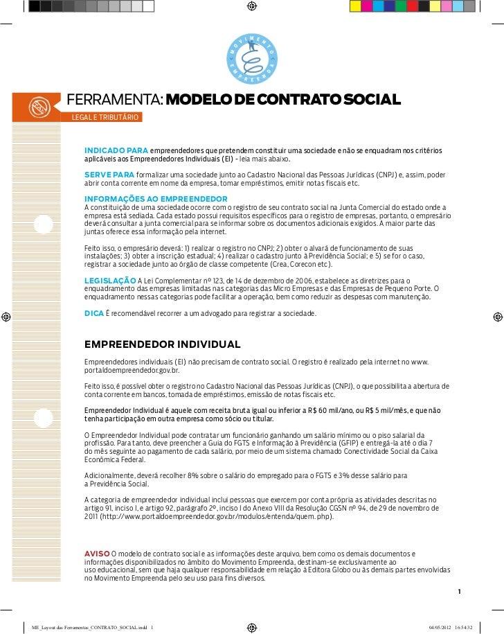 ferramenta: MODELO DE CONTRATO SOCIAL               legal e tributário                    INDICADO PARA empreendedores que...