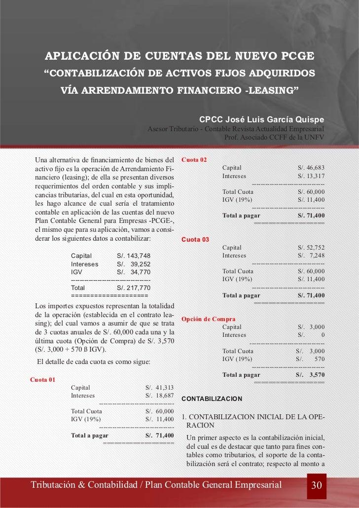 """APLICACIÓN DE CUENTAS DEL NUEVO PCGE    """"CONTABILIZACIÓN DE ACTIVOS FIJOS ADQUIRIDOS           VÍA ARRENDAMIENTO FINANCIER..."""