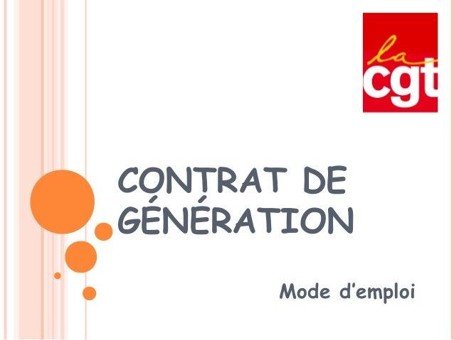 Contrats de génération   mode d'emploi