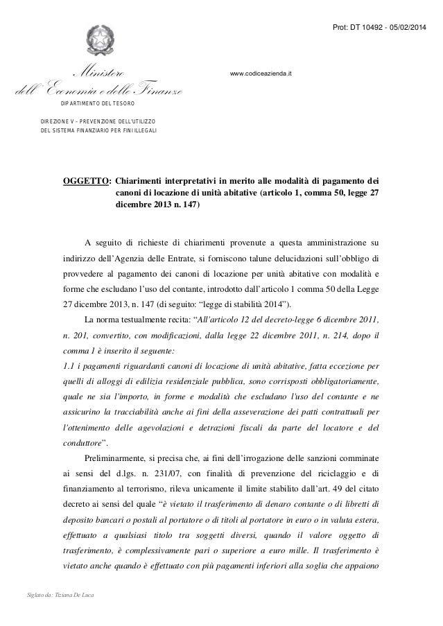 Prot: DT 10492 - 05/02/2014  Ministero dell ' Economia e delle Finanze  www.codiceazienda.it  DIPARTIMENTO DEL TESORO DIRE...