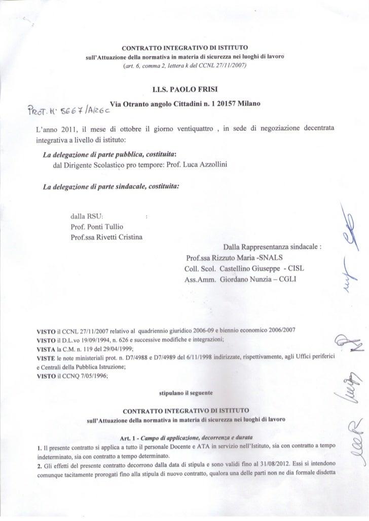 Contratto integrativo di Istituto sulla sicurezza
