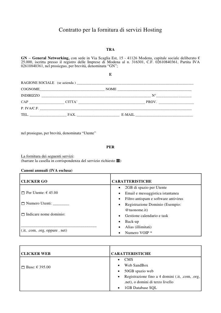 Contratto per la fornitura di servizi Hosting                                                         TRA  GN – General Ne...