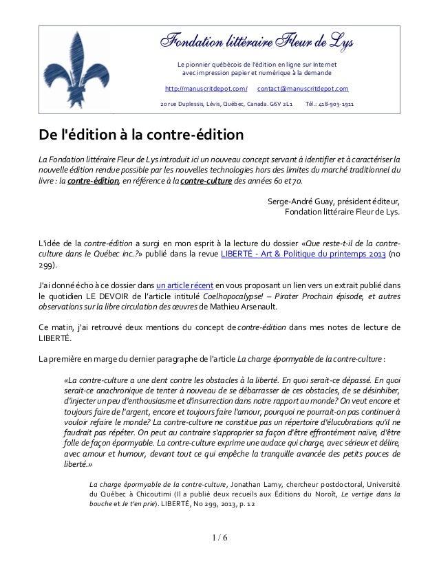 Lepionnierquébécoisdel'éditionenlignesurInternetavecimpressionpapieretnumériqueàlademandehttp://manus...