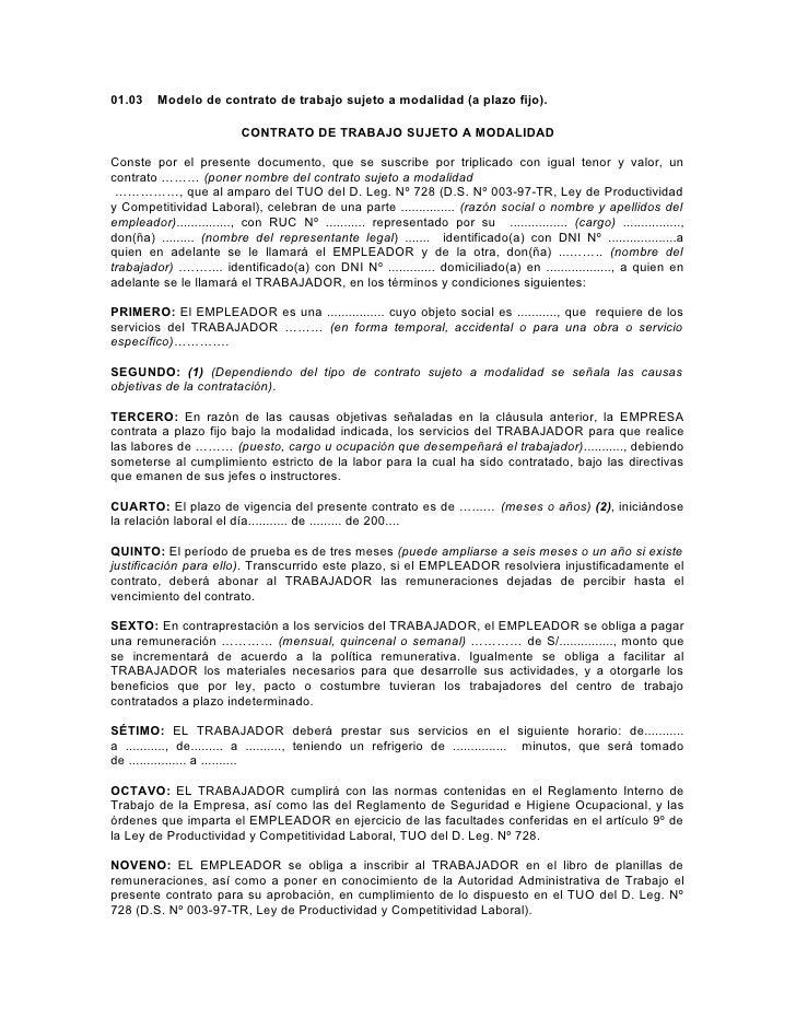 01.03    Modelo de contrato de trabajo sujeto a modalidad (a plazo fijo).                           CONTRATO DE TRABAJO SU...