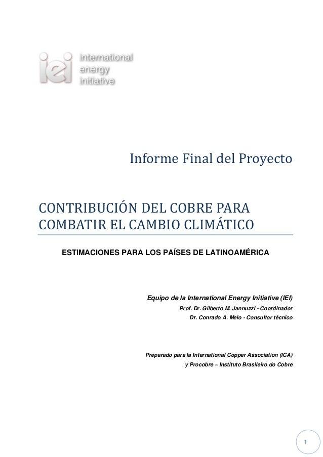 InformeFinaldelProyectoCONTRIBUCIONDELCOBREPARACOMBATIRELCAMBIOCLIMATICO   ESTIMACIONES PARA LOS PAÍSES DE L...