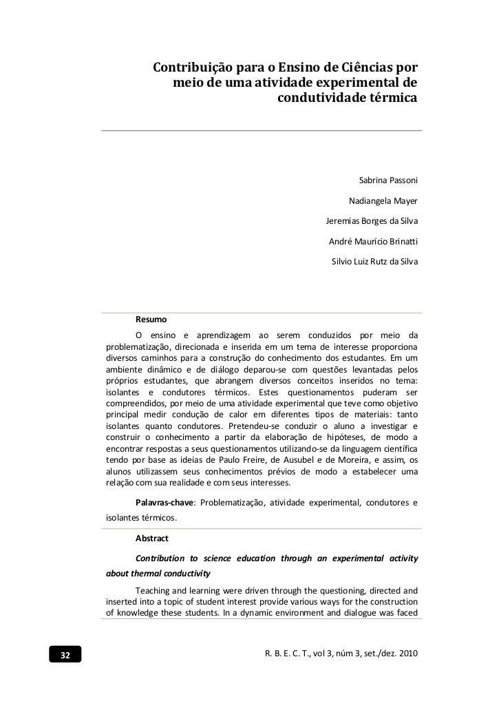 Contribuição para o Ensino de Ciências por                    meio de uma atividade experimental de                       ...