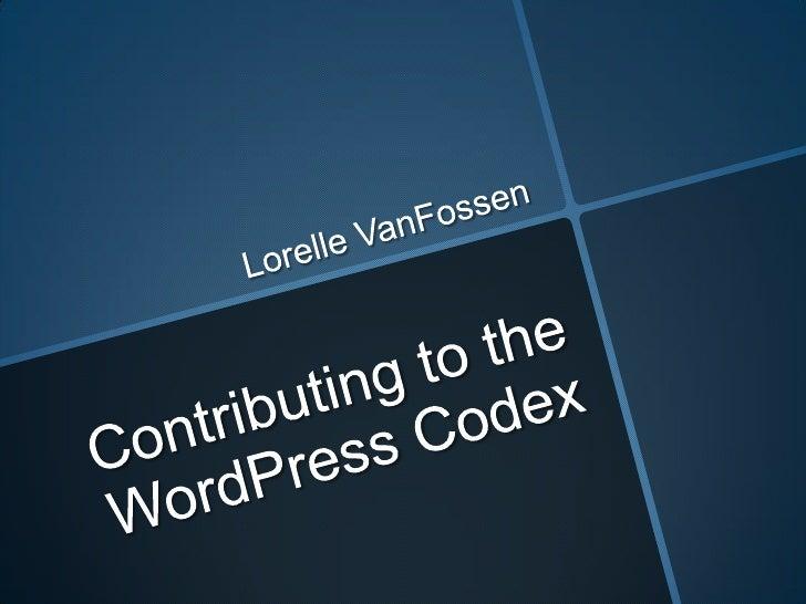 Contributing to the WordPress Codex