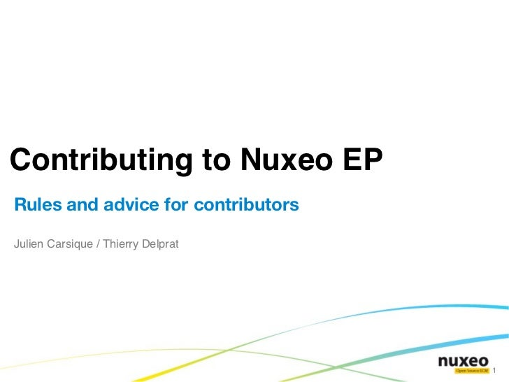 Contributing to Nuxeo EP - Rules and Advices