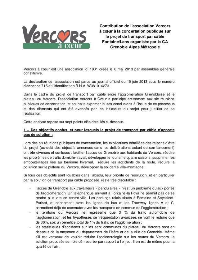 Contribution de l'association Vercors à cœur à la concertation publique sur le projet de transport par câble Fontaine/Lans...