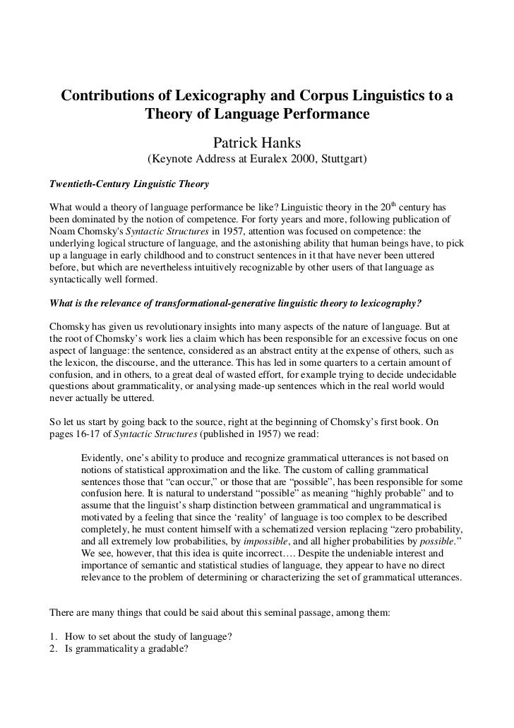 Contributions of Lexicography and Corpus Linguistics to a              Theory of Language Performance                     ...