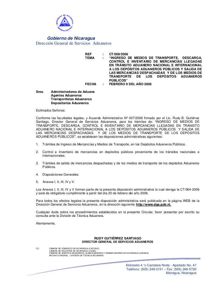 Gobierno de NicaraguaDirección General de Servicios Aduaneros                                       REF           :    CT/...