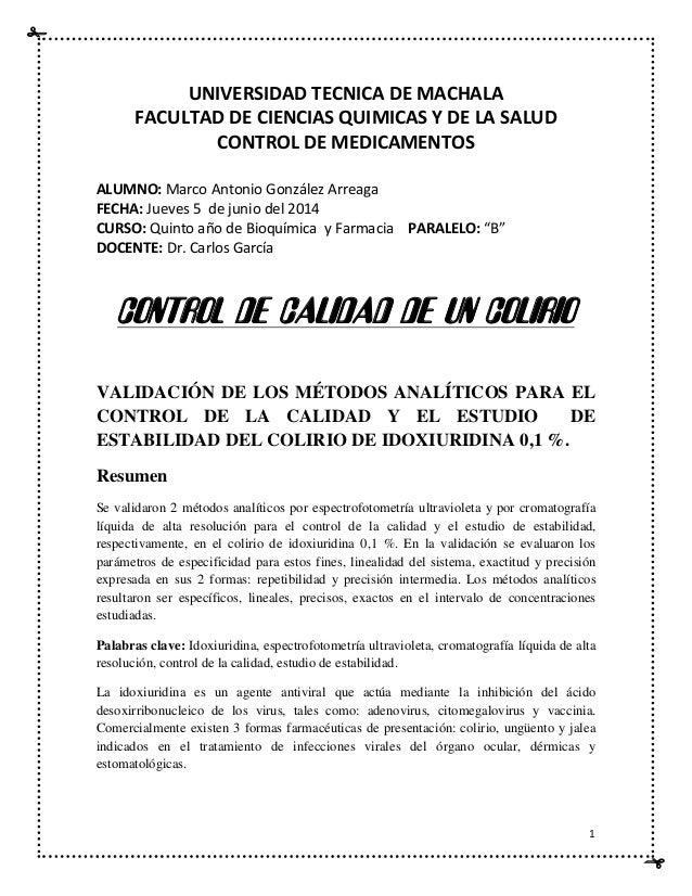 1 UNIVERSIDAD TECNICA DE MACHALA FACULTAD DE CIENCIAS QUIMICAS Y DE LA SALUD CONTROL DE MEDICAMENTOS ALUMNO: Marco Antonio...