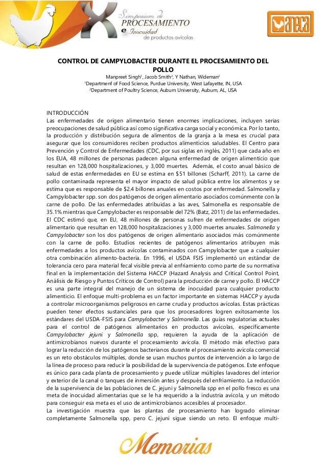 CONTROL DE CAMPYLOBACTER DURANTE EL PROCESAMIENTO DEL POLLO Manpreet Singh1 , Jacob Smith2 , Y Nathan, Wideman2 ...