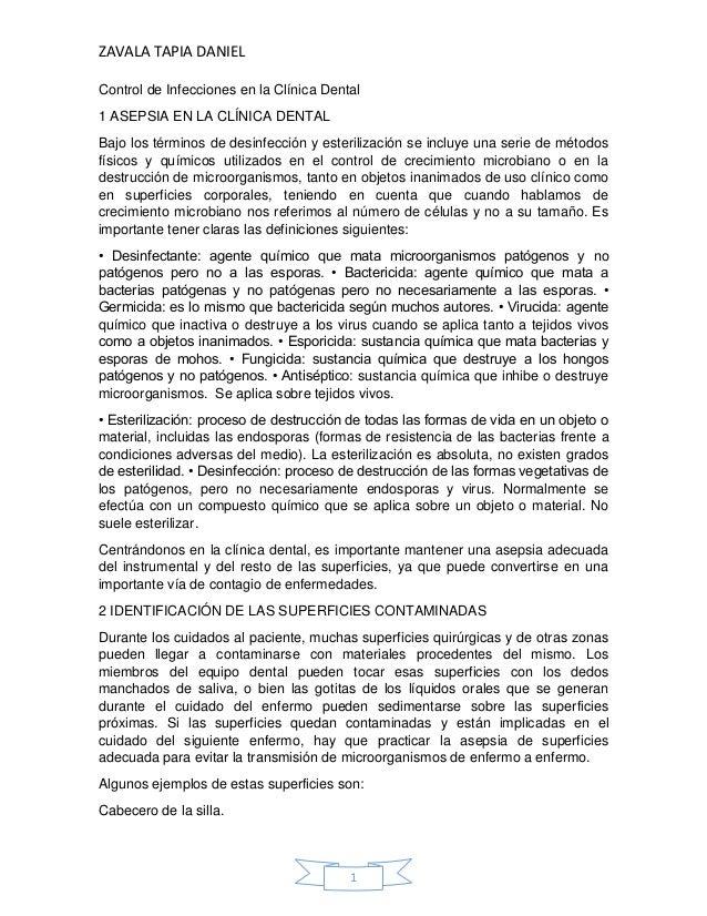 ZAVALA TAPIA DANIEL1Control de Infecciones en la Clínica Dental1 ASEPSIA EN LA CLÍNICA DENTALBajo los términos de desinfec...