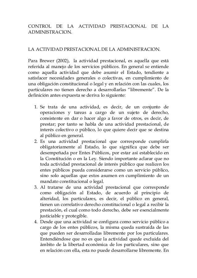 Control de la actividad prestacional de la administracion