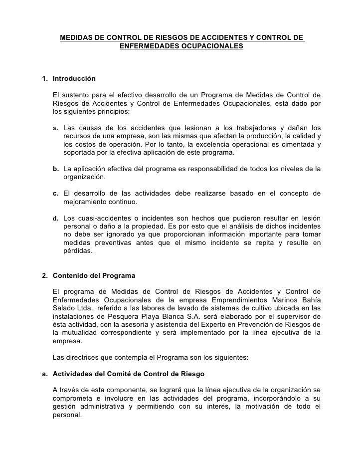 MEDIDAS DE CONTROL DE RIESGOS DE ACCIDENTES Y CONTROL DE                  ENFERMEDADES OCUPACIONALES1. Introducción   El s...