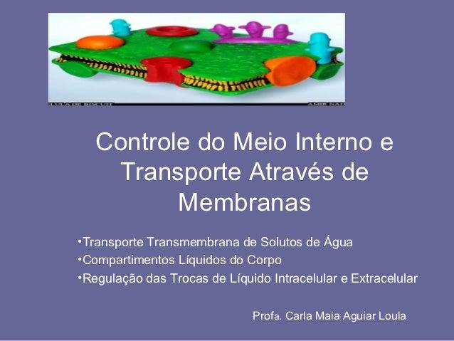 Controle do Meio Interno e    Transporte Através de          Membranas•Transporte Transmembrana de Solutos de Água•Compart...