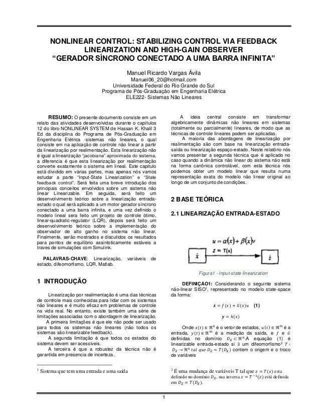 "NONLINEAR CONTROL: STABILIZING CONTROL VIA FEEDBACK               LINEARIZATION AND HIGH-GAIN OBSERVER        ""GERADOR SÍN..."