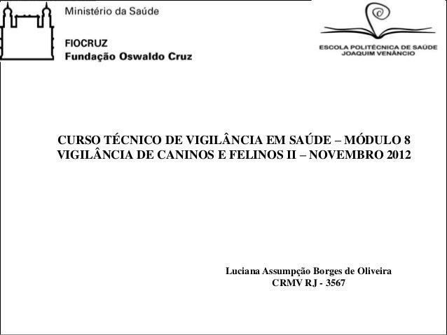 CURSO TÉCNICO DE VIGILÂNCIA EM SAÚDE – MÓDULO 8VIGILÂNCIA DE CANINOS E FELINOS II – NOVEMBRO 2012                       Lu...
