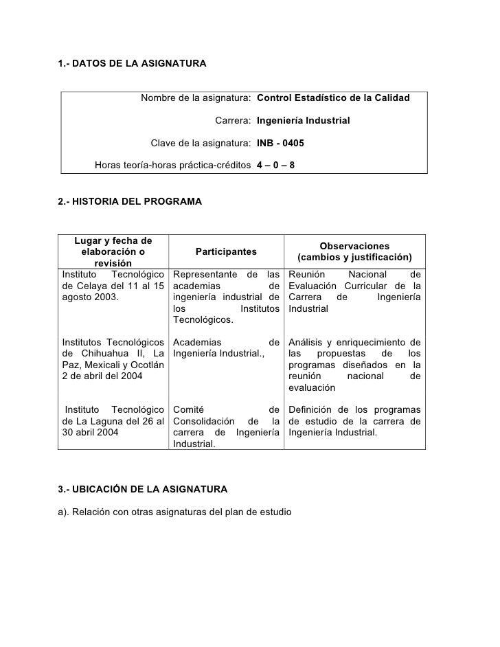1.- DATOS DE LA ASIGNATURA                   Nombre de la asignatura: Control Estadístico de la Calidad                   ...