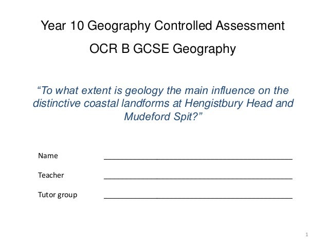geography controlled assessment introduction 5 introduction 5 background research 6 methods 7 – 10 results 10 conclusions 11 evaluation 12 - 13 coursework checklist  15 assessment criteria 1 geography coursework  basic facts the coursework component is worth 25% of the total assessment the coursework investigation must include the collection of primary data fieldwork in other words.