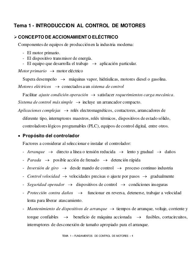 TEMA 1 – FUNDAMENTOS DE CONTROL DE MOTORES – 1 Tema 1 - INTRODUCCION AL CONTROL DE MOTORES  CONCEPTO DE ACCIONAMIENTO ELÉ...
