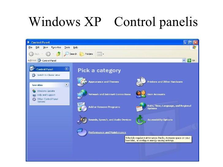 Windows XP   Control panelis