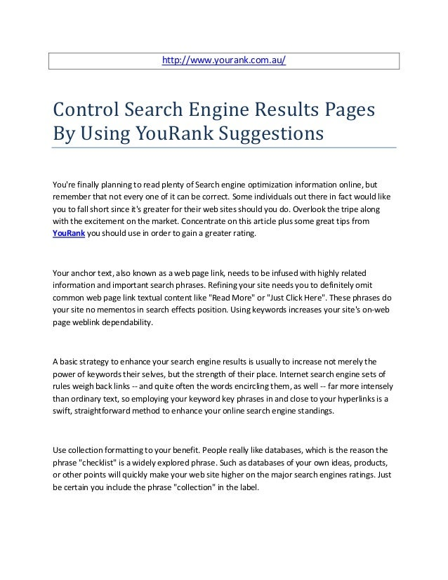 Control search engine results pages by using you rank suggestions