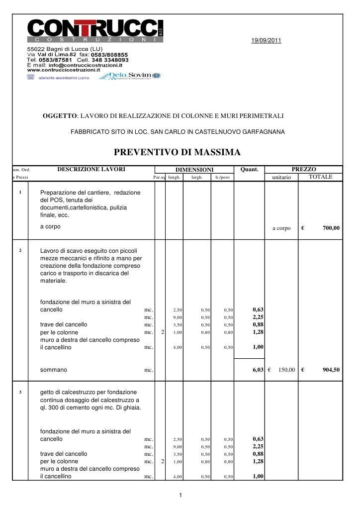 19/09/2011            OGGETTO: LAVORO DI REALIZZAZIONE DI COLONNE E MURI PERIMETRALI                       FABBRICATO SITO...