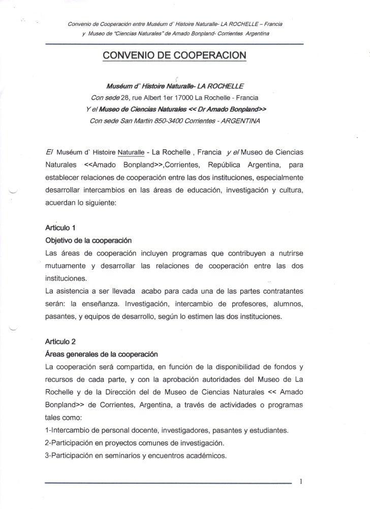Convenio de Cooperación: Museo de Historia Natural LR - Museo Bonpland de Corrientes