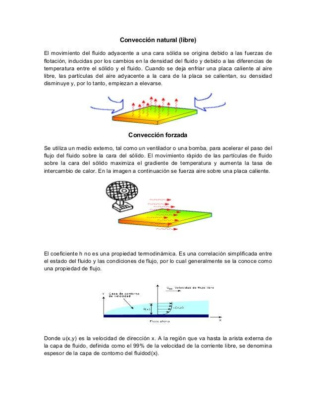 Convección natural (libre) El movimiento del fluido adyacente a una cara sólida se origina debido a las fuerzas de flotaci...